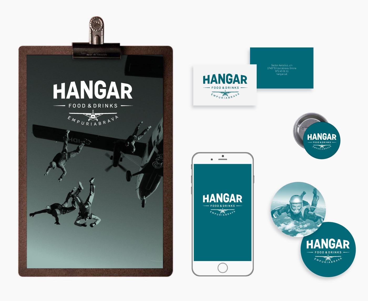 Aplicaciones de logo restaurante del aeródromo de Empuriabrava Hangar
