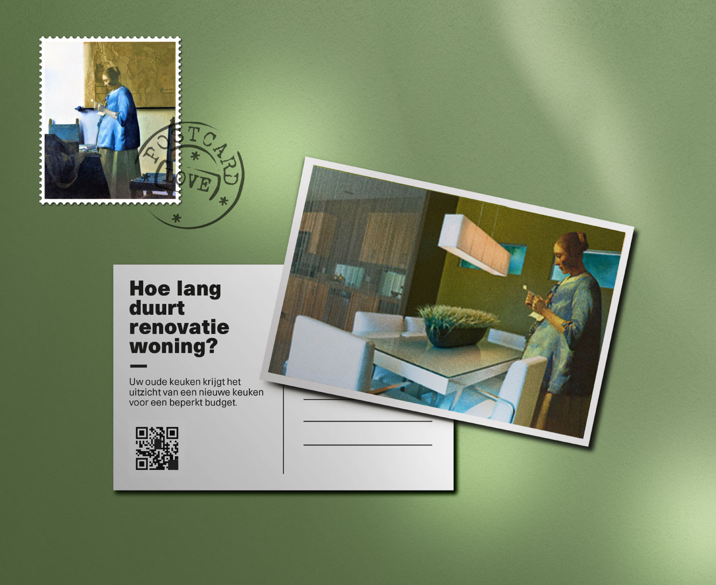 Postal free para una empresa holandesa de reformas de interiores reconstruyendo cuadros del pintor holandés Vermeer